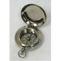 "Chrome Plated Pocket Compass 1 3/4"" W/ Cover - Hiking"