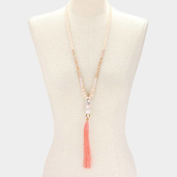Peach Tassel drop glass bead strand long necklace