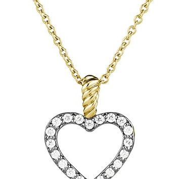 Women's David Yurman 'Cable Collectibles' Heart Pendant with Diamonds on Chain