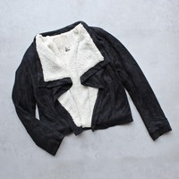 SH faux shearling-trim suede jacket - black