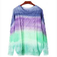 Gradient rainbow colorful sweater
