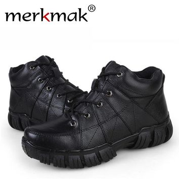 Buy or Donate, Sneaker Boots High Quality Genuine Leather Men Shoes Winter Men Ankle Boots Waterproof Antislip Male Outdoor Footwear Combat Military Boots