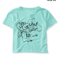 Aeropostale Womens Listen Crop Graphic T-Shirt - Blue,