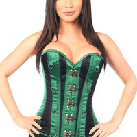 Daisy Corsets Top Drawer Plus Size Green/Black Steel Boned Corset w/Clasps & D-Rings