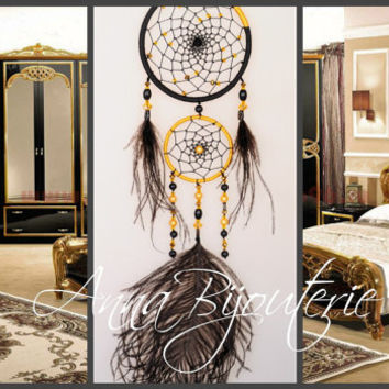 Dreamcatcher Black GOLD Dream Catcher Large Dreamcatcher New Dream сatcher gift idea dreamcatcher boho dreamcatcher wall handmade idea gift