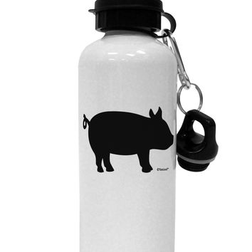 Pig Silhouette Design Aluminum 600ml Water Bottle by TooLoud