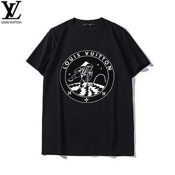 LV 2019 early spring new spaceman printing couple models round neck short-sleeved T-shirt Black