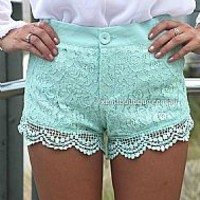 TWEE LACE SHORTS , DRESSES, TOPS, BOTTOMS, JACKETS & JUMPERS, ACCESSORIES, 50% OFF SALE, PRE ORDER, NEW ARRIVALS, PLAYSUIT, COLOUR, GIFT VOUCHER,,SHORTS,Blue,Green,LACE Australia, Queensland, Brisbane
