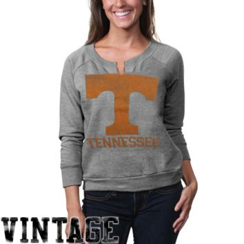 Tennessee Volunteers Womens Split Neck Crew Tri-Blend Sweatshirt - Gray