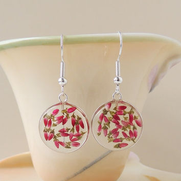 Heather Flower Earrings, Real Red Flowers in Resin Drop Earrings, Heather Jewelry, Resin Jewelry, Floral Flower Botanical Jewellery (1765)