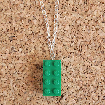 Green LEGO Necklace - unique unisex gender neutral recycled jewelry one of a kind kids toy charm FREE shipping to USA