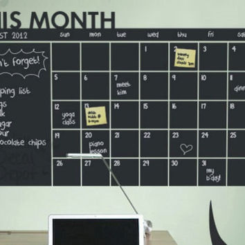 Month Calendar Planner / Chalkboard Sticker Wall Decal / Modern Chalk Blackboard / Monthly Planner / Chalkboard office organizer Echo Board