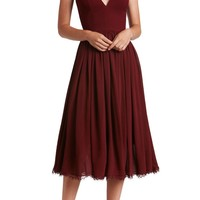 Dress the Population Alicia Mixed Media Midi Dress | Nordstrom