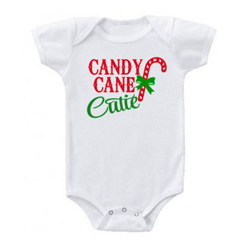 Candy Cane Cutie Christmas Baby Onesuit