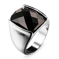 Intionix Shop Famous Black Rectangular Silver Stainless Steel Men's Ring