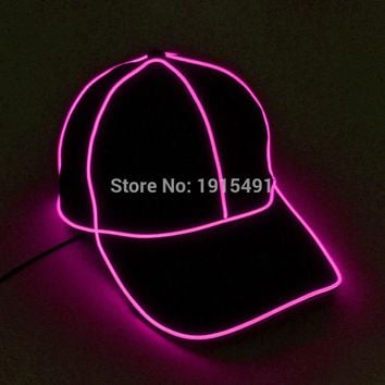 High Quality Event Gift Glowing Neon Led Bulbs Black Cotton Hat Stylish EL Cold Light Camouflage Baseball Cap for Night Club