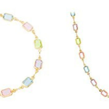 Two Year Warranty Gold Overlay with Multi Colors Matching Rectangle Shaped Necklace and Bracelet Jewelry Set