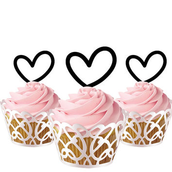 6 pcs in one set hearts CupCake toppers for party decor, birthday party cupcake toppers acrylic,  gift for birthday