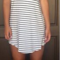 Round Neck Asymmetrical Hem Stripe Dress