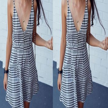 Summer Women's Fashion Sexy V-neck Plaid Sleeveless Spaghetti Strap One Piece Dress [8098142791]