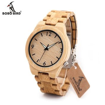 BOBO BIRD L-D27 Luminous Needles Natural All Bamboo Wood Watches Top Brand Luxury Men Watch with Japanese Movement For Gift