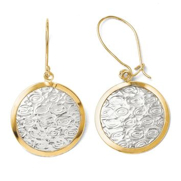 19mm Textured Disc Dangle Earrings in 10k Yellow Gold & White Rhodium