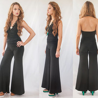 Vintage Bell Bottom Jumpsuit - Halter Top | Black Palazzo Jumper Romper | 90s does 70s One-Piece Ruched Pants Suit | Disco Wide Leg Catsuit