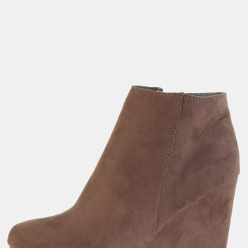 Suede Almond Toe Wedge Ankle Boots TAUPE | MakeMeChic.COM