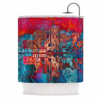 "Suzanne Carter ""Marbled Skyline"" Red Blue Shower Curtain"