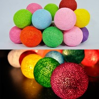 20 Multi-Color pastel sweet cotton ball string fairy lights home decor wedding party patio spa,free shipping