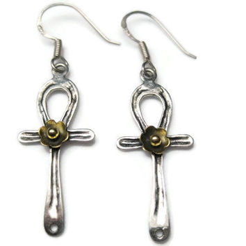 Sterling Silver Egyptian Ankh Dangle Earrings
