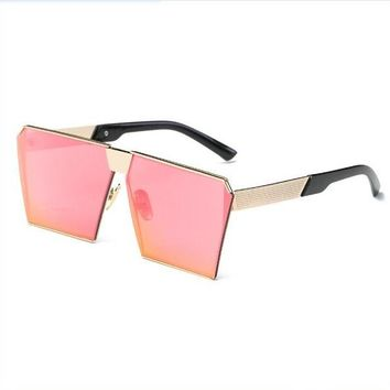 2017 Trendy Women Men Cat Eye Cool Sunglasses Mirrored Lenses Polygon Shades Alloy Glasses Summer Sunglasses