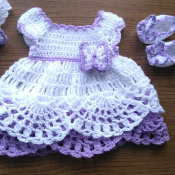Cute handmade crochet baby dress with matching headband and ballerina shoes in white purple