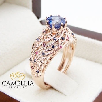 Unique Design Sapphire and Ruby Engagement Ring Filigree 14K Rose Gold Ring Natural Sapphire and Ruby Ring Art Deco Engagement Ring