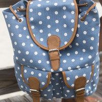 Take Me On An Adventure Blue Polka Dot Backpack