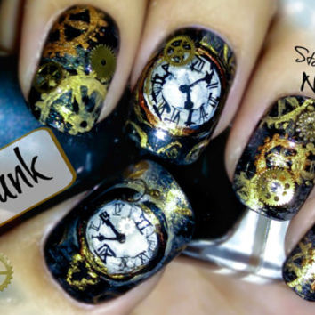 Steampunk Nail Art. Handmade False Nails, Fake Nails, Press On Nails, Micropainting On Nails