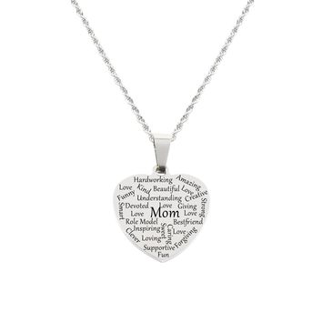 Heart Tag Necklace - Mom