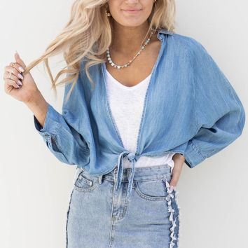The Moments Denim Tie Top