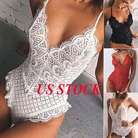 Women's Lace Lingerie Sleepwear Bodysuit