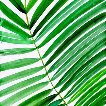 Tropical leaf watercolor painting coconut palm tree leafs nature abstract green plant wall art, botanical print poster 5x7 8x10 11x14