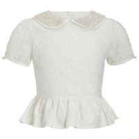 Pearl Collar Peplum Top | White | Monsoon