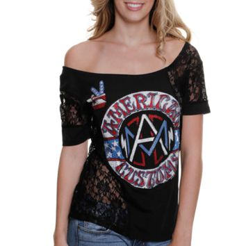 Affliction American Customs Moto Spirit Juniors Top - Black