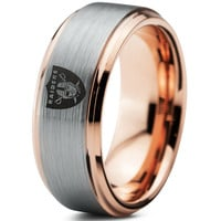 Oakland Raiders 18k Rose Gold Step Bevel Ring