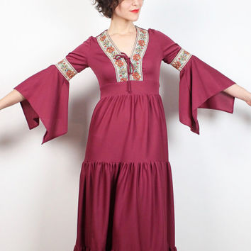 Vintage Hippie Dress 1970s Dress Burgundy Pink Tiered Skirt Floral Scarf Sleeve Maxi Dress 70s Dress Boho Festival Angel Wing Dress S Small