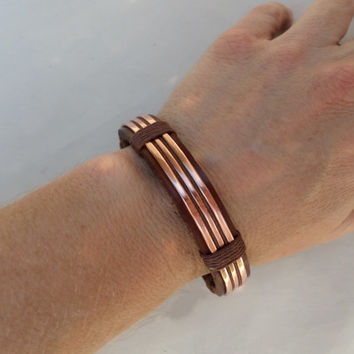 Men's Bracelet, Men's Leather and Copper Bracelet, Men's Leather Bracelet, Men's Copper bracelet, Copper Bracelet, Leather Bracelet