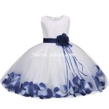 Toddler Girl Baptism Christening Dress Christmas Costume Petals Baby Girl Dress 1 Year Birthday Gift BG6708