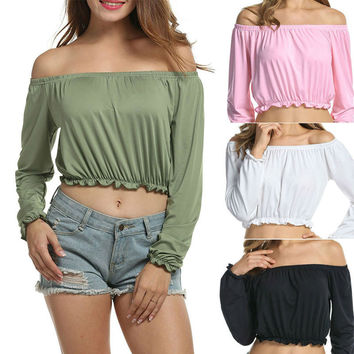 Sexy slash neck t shirt butterfly long sleeve crop top off the shoulder tops for women short Lo Shi 90's t-shirt halter tops