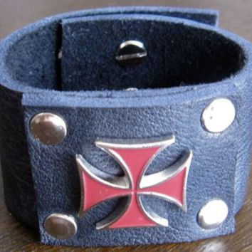 Leather Cuff. Black Leather Bracelet with Red Metal Iron Cross.