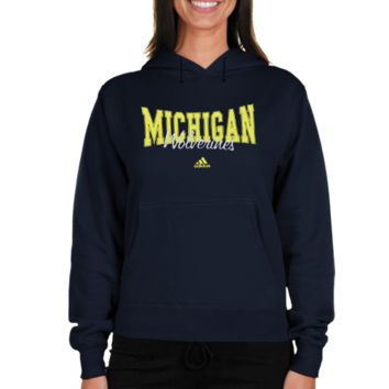 adidas Michigan Wolverines Women's Divided Hoodie Sweatshirt - Navy Blue