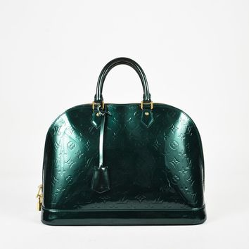 "Louis Vuitton ""Bleu Nuit"" Green Monogram ""Vernis"" Patent ""Alma PM"" Bag"